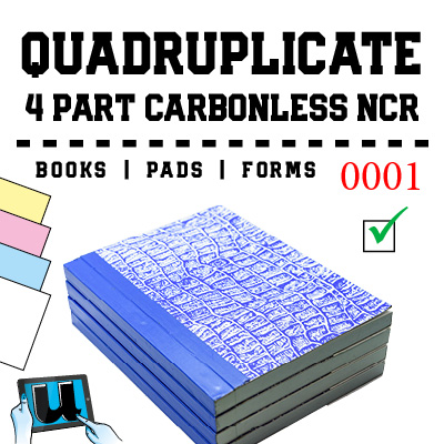 Quadruplicate 4 Part NCR Books