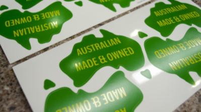 Aussie shaped labels